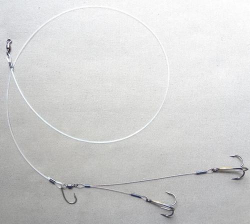 Z Leaders Quick Strike Sucker Rig Double Treble (Fluor. Carbon - Stranded Wire)